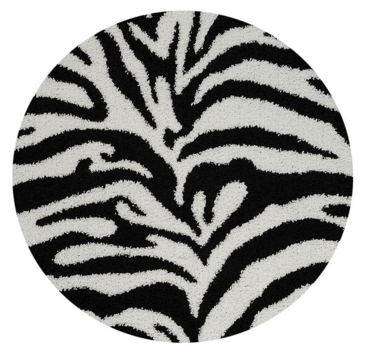Burns Zebra Print Black/Snow White Shag Area Rug