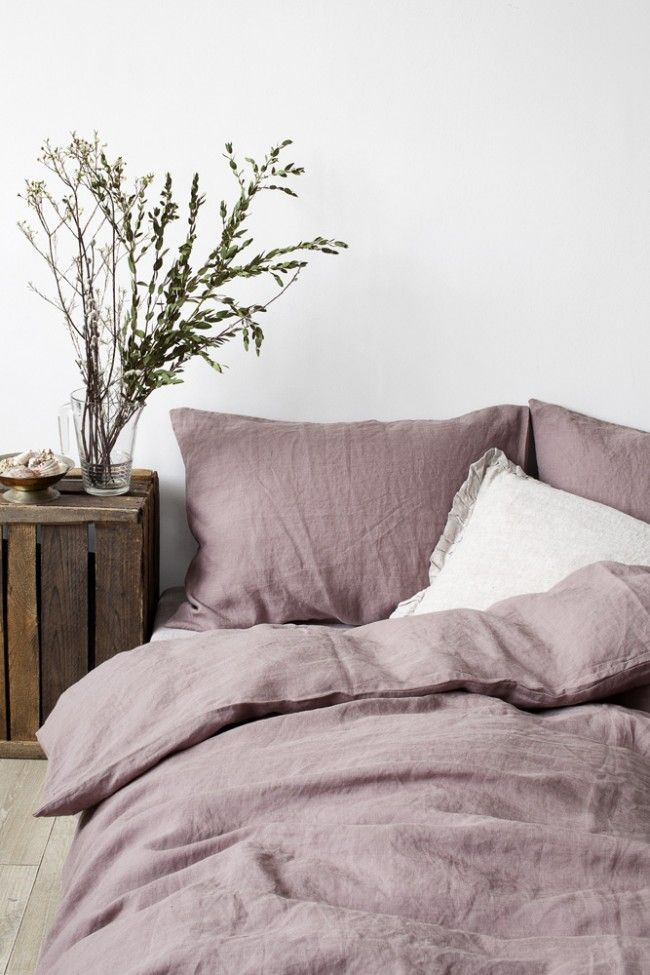 Dark Lavender Stone Washed Linen Bed Set