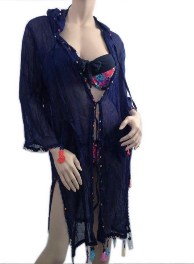 ScarfCluB COTTON Kimono Hoodie Navy Beach Dress Swimsuit Cover Up Dress  www.scarfclub.net