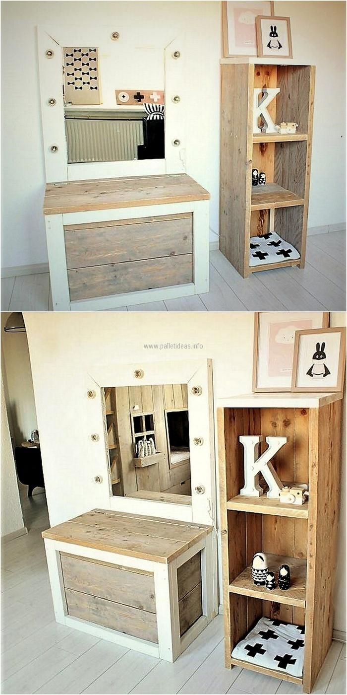 One can show creativity and the skills by making the furniture for the home with the hands just like this wooden pallet dressing table. The person can create a table of size that is needed according to the space in the room.