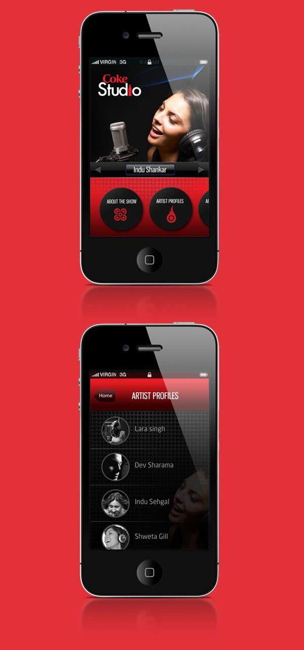 ipad  amp  iphone design concept for Coke Studios