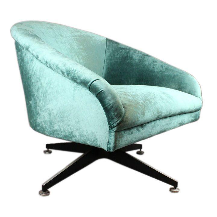 Single vintage silk mohair swivel chair by ward bennett from a