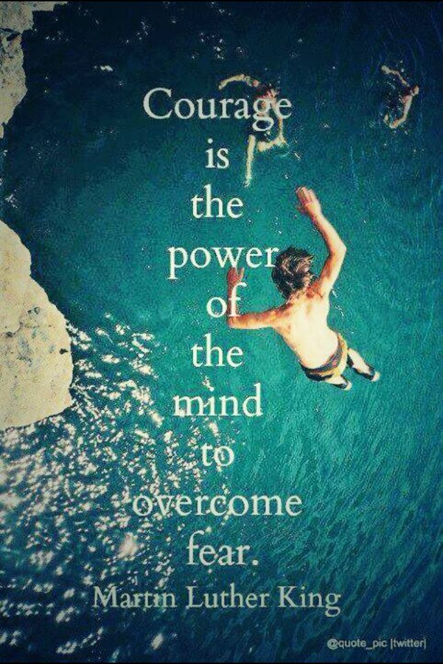 Courage is the power of the mind to overcome fear - Martin Luther King Jr.                                                                                                                                                                                 More