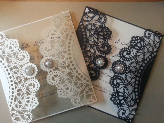 Gatsby style laser cut Wedding Invitation by CrystalCoutureinvite Check out Dieting Digest