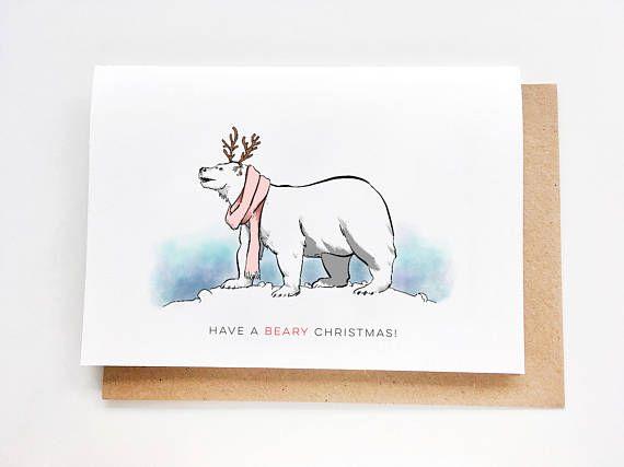 Christmas Card  Polar Bear  Navidad tarjeta Noel carte