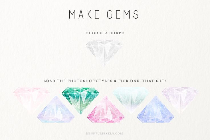 Watercolour Gem Creator Kit by Mindful Pixels on Creative Market