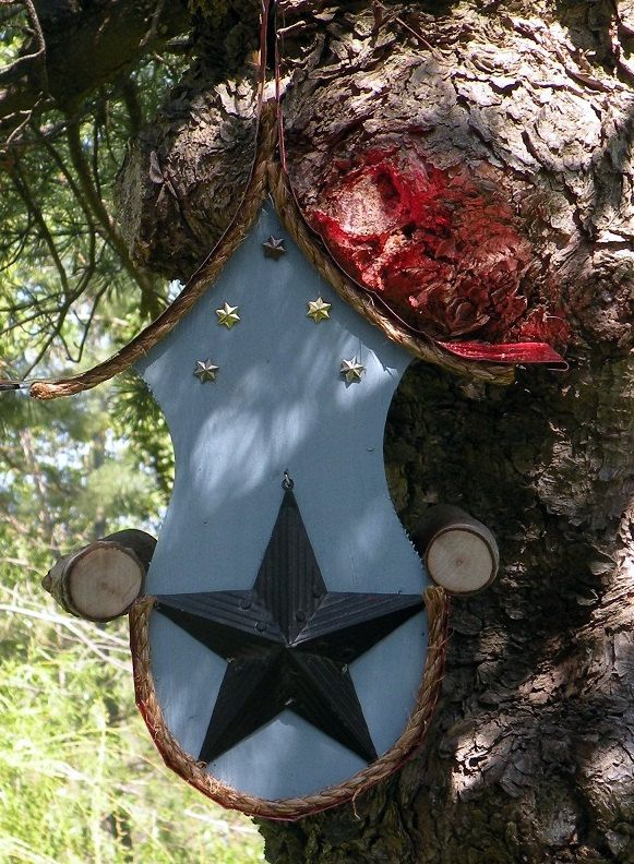 Star bird feeder, country style birdfeeder in color options with tin stars by adventureoriginals on Etsy