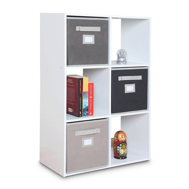 Medida 91.4 x 61.29 x 29.54 cm. Uso vertical y horizontal. 6 espacios. Color blanco. Melamina. Usos m�ltiples. Modelo 899600.