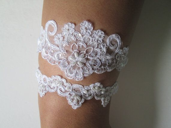 White Lace Wedding Garter Set Alencon Pearls Bridal Romantic Vintage Garters USD By GibsonGirlGarters