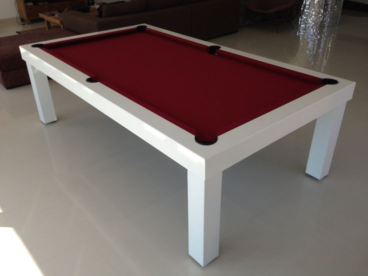 Our Outdoor Pool Table U201cMoodu201d 8ft In Shiny White Colour With Burgundy Cloth  Installed