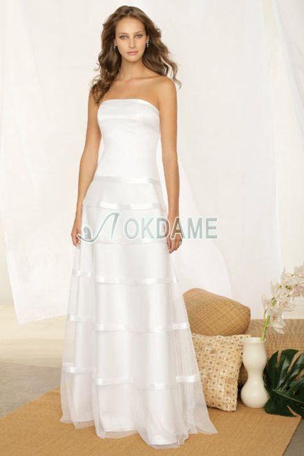 A-Line trägerloser Ausschnitt bodenlanges informelles Brautkleid für Apfelförmige Figur für mittel Größe