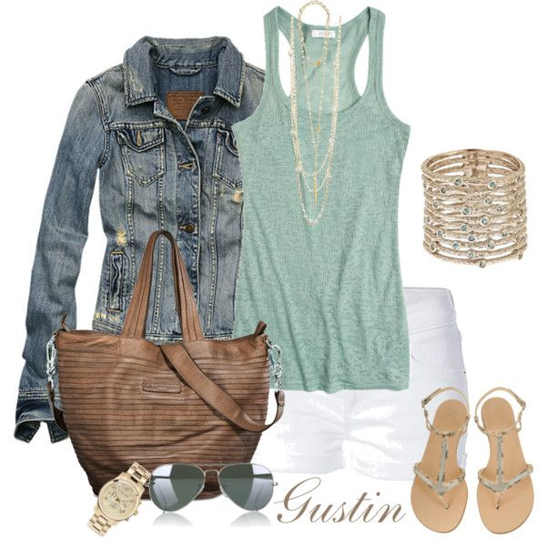 jean jacket and white shorts; love the mint green