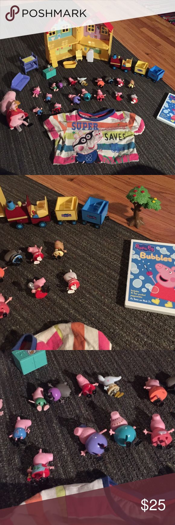 Peppa pig gift set ! Includes shirt size 4t-5t. Peppa pig stuff animal. 17 authentic figures. Peppa pig house and house  accessories, peppa pig train and tree. Also throwing in a used peppa pig movie it has scratches on the back but does not skip at all. Everything else is brand new Accessories