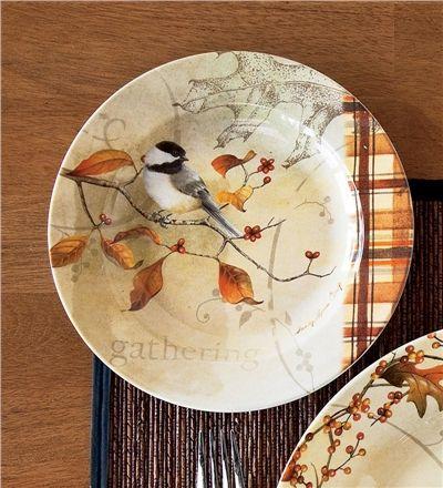 Chickadee Autumn Dessert Plates, Set of 4 | Wind & Weather