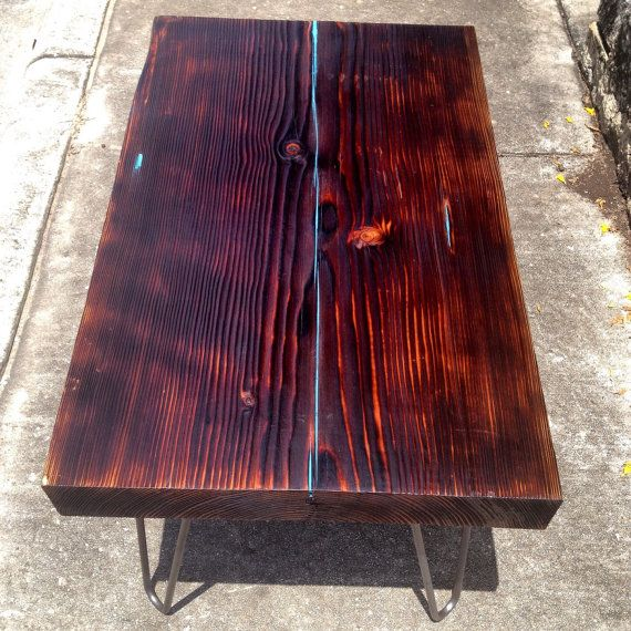 Shou Sugi Ban End Table With Hairpin Legs By ARDesignTx On Etsy