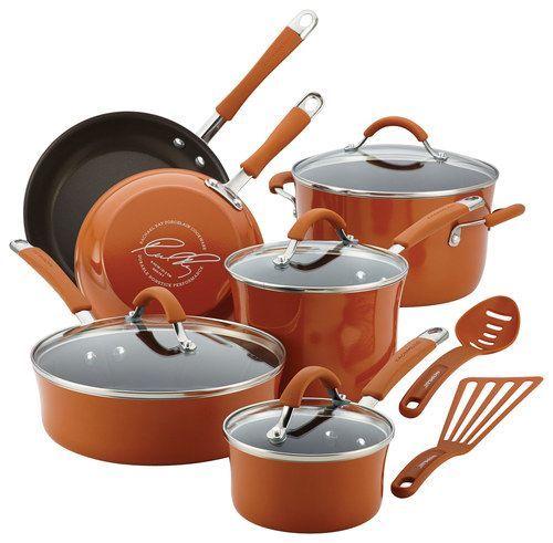 Rachael Ray - Cucina 12-Piece Nonstick Cookware Set - Espresso/Pumpkin Orange (Brown/Pumpkin Orange)