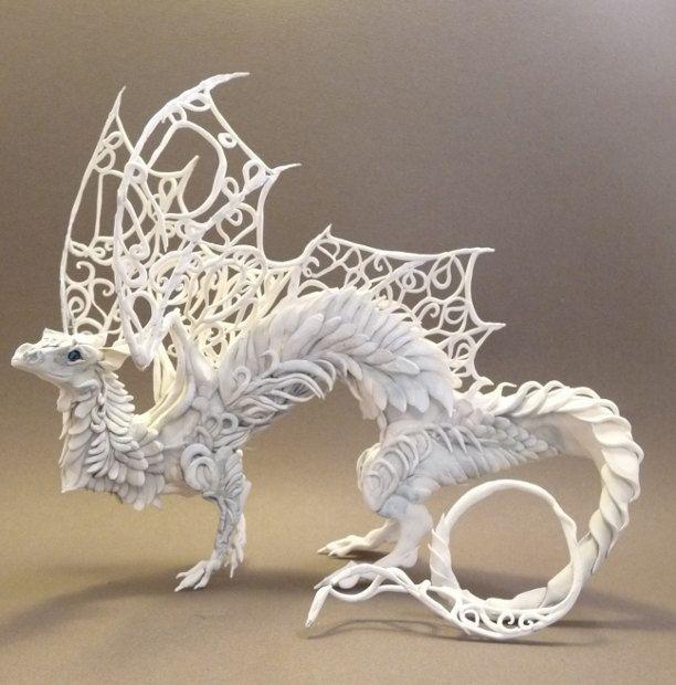 {white dragon sculpture} by Ellen Jewett - beautifully intricate work!
