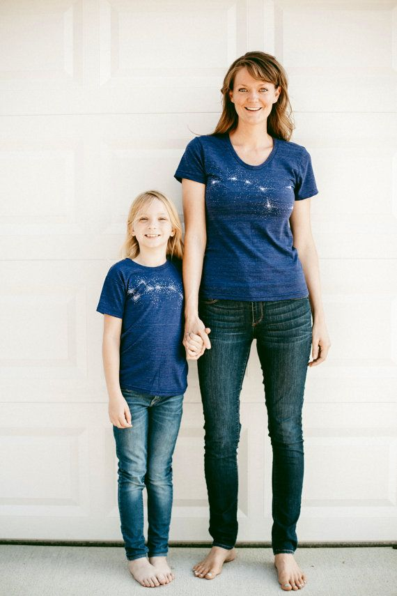 The Little Dipper / Big Dipper t-shirt set. Each t-shirt in this ready-to-gift duo is hand printed on a super soft, made in the USA top. It's a subtle, stylish way to celebrate mom and show your love. Find this and other perfect Mother's Day gifts in our Etsy shop.