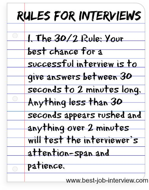 Rules for answering interview questions.