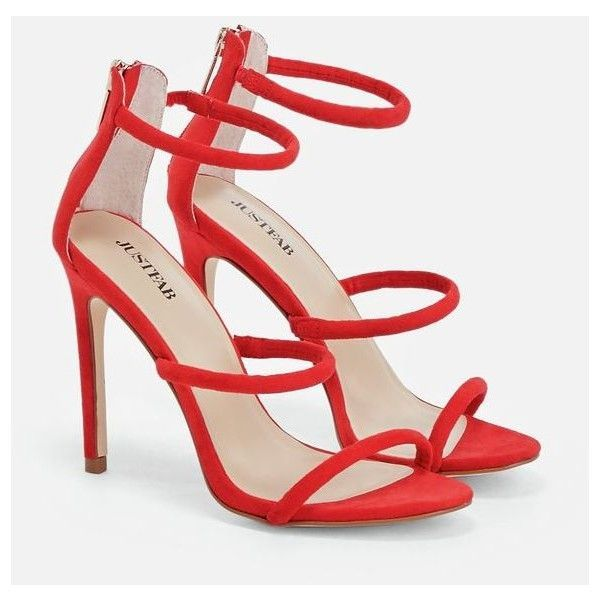 Justfab Heeled Sandals Doris (750 MXN) ❤ liked on Polyvore featuring shoes, sandals, red, strappy sandals, strappy platform sandals, strappy heeled sandals, red high heel shoes and red sandals