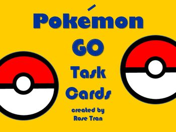 Have you noticed people catching Pokmon lately? I just caught Pikachu! These Pokmon GO inspired math task cards are full of math problems related to the game. Included are a variety of word problems where students will solve or write short answers. Students will use the four operations, fractions, decimals, coordinate graphing, place value, conversions, time, and more!