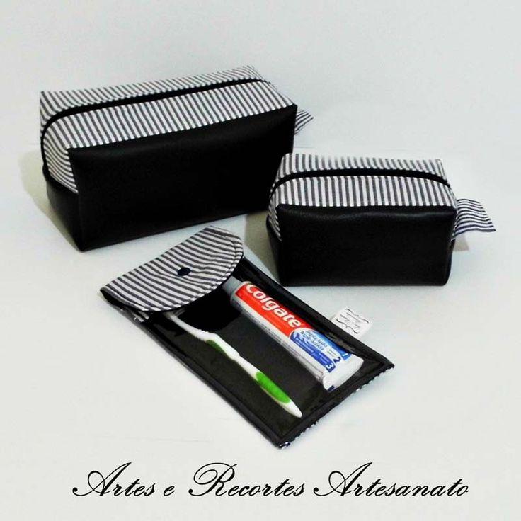 Kit necessaire masculina em courvin, detalhes em tecido e forro em nylon. Super prática e util  Sob encomenda pelo whats 18 98121-4571 ou pelo site http://www.elo7.com.br/arteserecortesartesanato