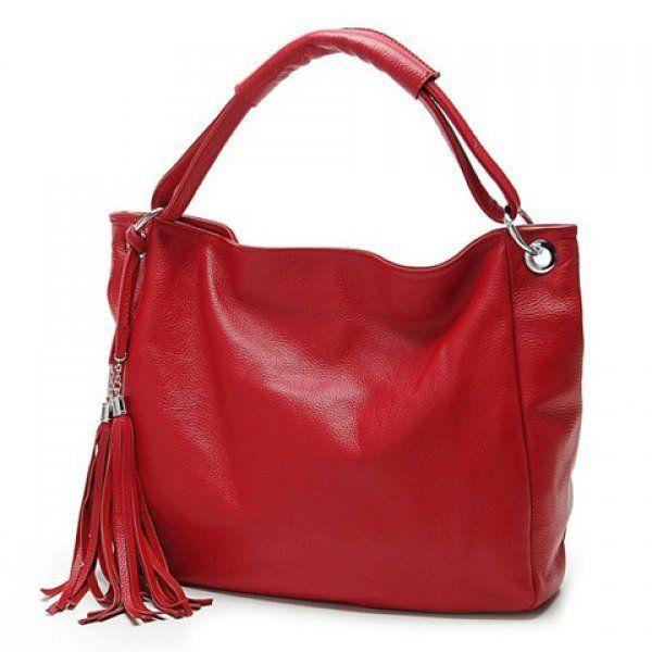 Fashionable Solid Color and Tassels Design Women's Shoulder Bag