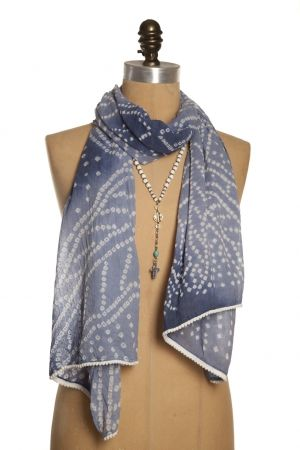 Global Leaves Scarf - Indigo