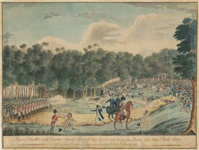 Watercolour and explanation of the 1804 Castle Hill rising, from Objects through Time, an online exhibition by Migration Heritage at www.migrationheri...