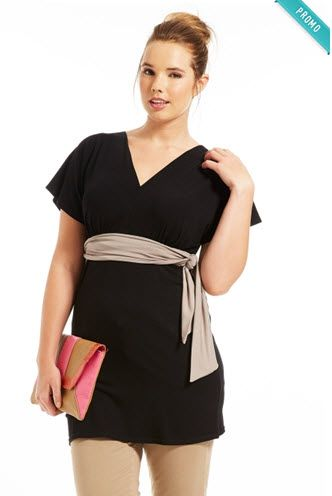 Une jolie tunique pour femme ronde, qui masque les bras ronds et souligne la taille ! #ronde #curvy #mode #scarlett