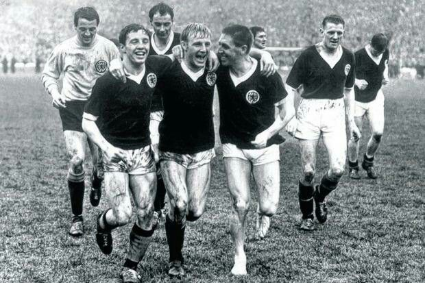 Scotland's players celebrate after beating England at Hampden (1964)