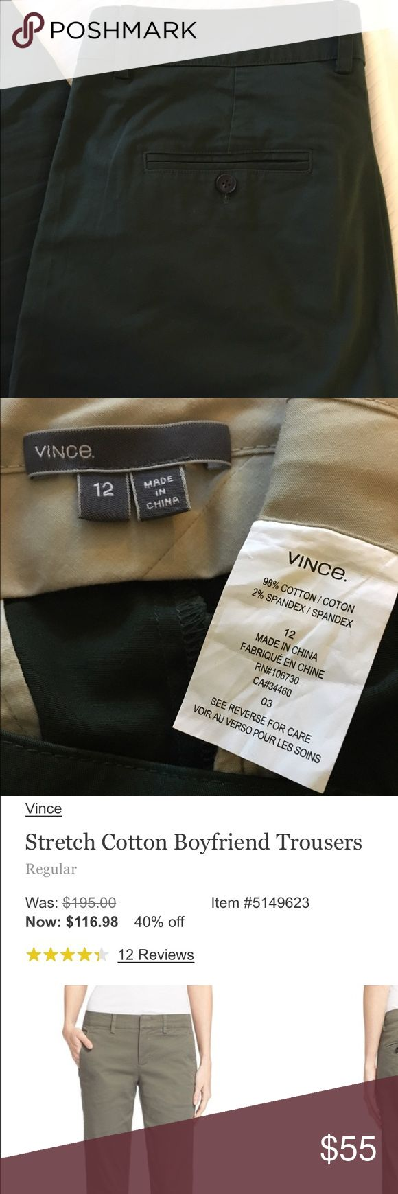 """Vince dark green pants size 12 Vince stretch cotton trousers in dark forest green. Purchased last Fall and now they're too big 😝. EUC, worn a few times, no flaws. Paid full price at Nordstrom. Stock photo an example of fit, color for sale is dark green. 17 3/4"""" waist, 20"""" hip, 10"""" rise, 29 1/2 inseam, 7"""" leg opening. Vince Pants Straight Leg"""