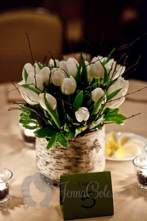 I love this rustic tulip centerpiece. It's not as inexpensive as it looks with 30 tulips, birch branches, and the rustic container they'd be around $40 each table during the spring tulip season (Dec-April) but they're gorgeous!