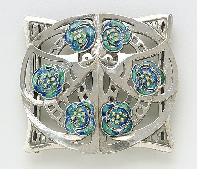 Buckle, 1913, by Jessie Marion King. Jessie Marion King was a Scottish illustrator mostly of children's books. She also designed jewelry and fabric, and painted pottery. She was married to E. A. Taylor, artist and furniture designer. She was born in Bearsden, near Glasgow.