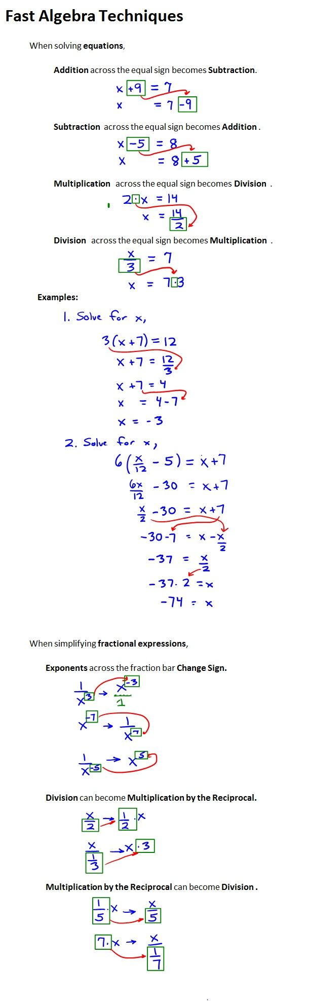 At some point a #math student needs to move from learning #algebra to doing algebra. Many techniques that students learn are designed to facilitate a person's understanding and remembrance of algebra