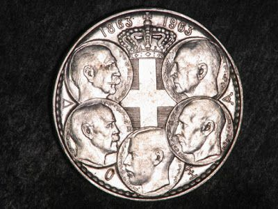 Greece 30 Drachma Silver Commemorative coin of 1963 5 Kings - Centennial of the monarchy.  The obverse depicts five kings of the House of Glücksburg, 1863-1963. Clockwise from the top: Paul, George II, Alexander, Constantine I and George I.