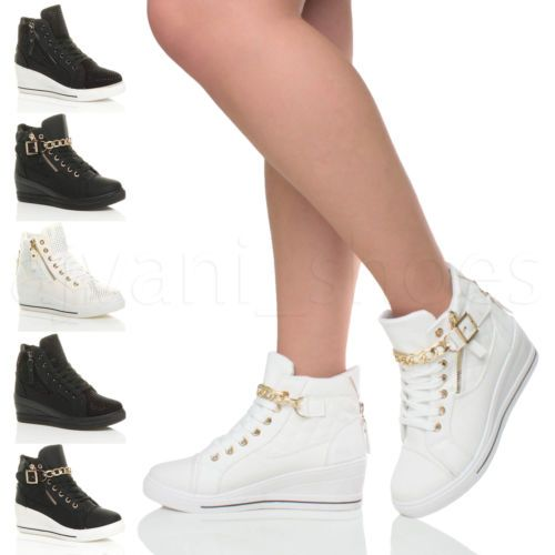 d4cb491f2 Womens ladies mid heel wedge platform lace up high top ankle ...