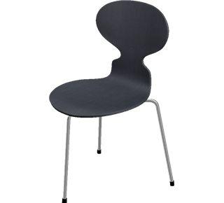 3100 - 3100, 3 legs, stackable, coloured ash, Black, Chromed Steel