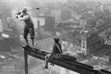 Another brilliant adaptation of the classic 'Lunch atop a Skyscraper' by photographer Charles C. Ebbets, This shot shows a man precariously perched on the very edge of a girder, with his golf club in the air ready to tee off. He is standing hundreds of feet above the New York streets.: Tees, Photos, Skyscraper, Art, Golf, New York, 1932, Photography