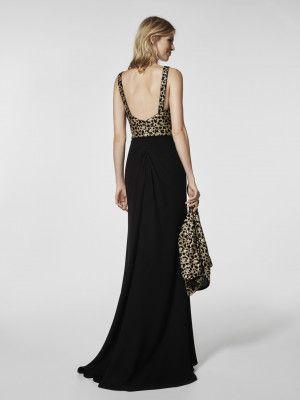 Vestido de fiesta negro - Vestido largo GROSCAL - con tirantes | Pronovias