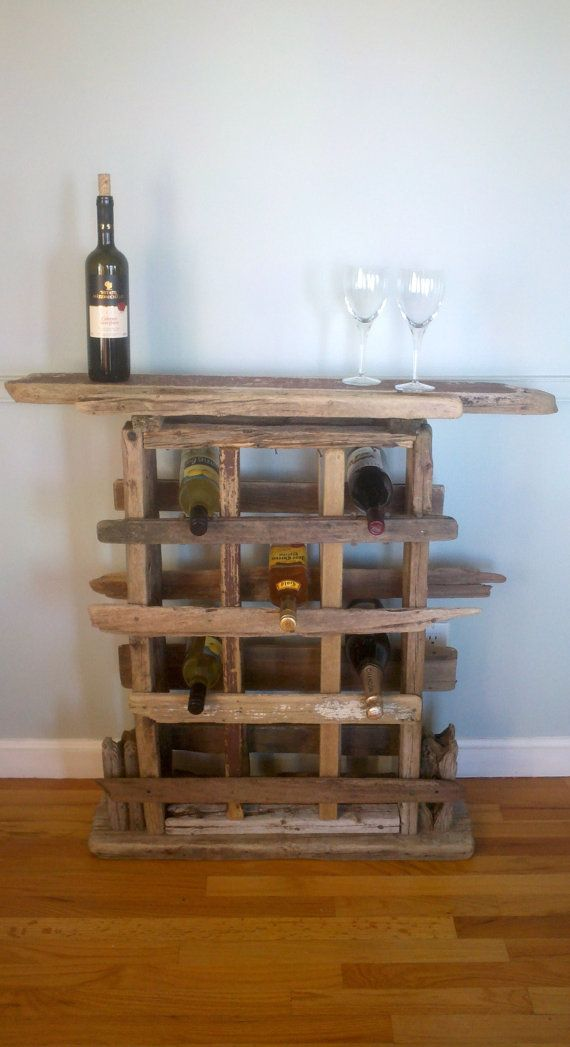 Rustic driftwood Wine storage racks and glasses