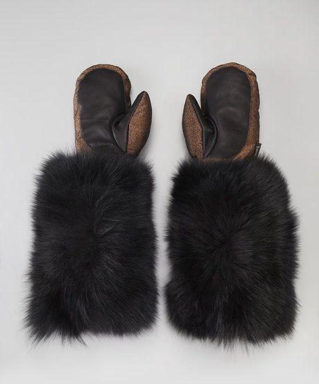 Moncler ~ Fur Cuff Metallic Mittens