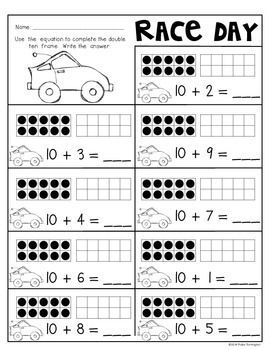 Crossing the Finish Line! {Teen Numbers} Common Core Math. Students will build on with a base of ten, identify, compare, write equations and represent teen numbers! Perfect for Kindergarten and First Grade. $: