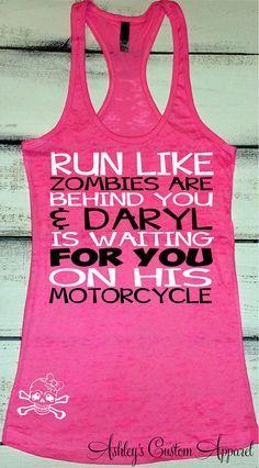 Women's Workout Tank, Funny Workout Shirt, Zombie Shirt, Fitness Burnout, Zombie Apocalypse, Daryl Shirts, Funny Running Shirt, Inspiration  by AshleysCustomApparel