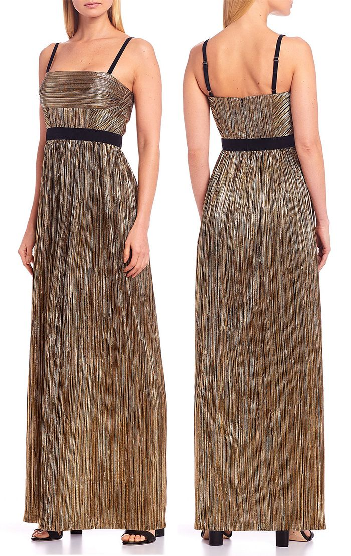 Gold Pleated Maxi Dress Where To Get The Best Dresses For The Party Season Christmas Party Dress Eve Outfit New Years Eve Outfits Best Party Dresses