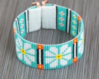 Hippie Chic margherite Loom polsino nativi americani stile del braccialetto di perline gioielli Boho tribale turchese Beadweaving del sud-ovest