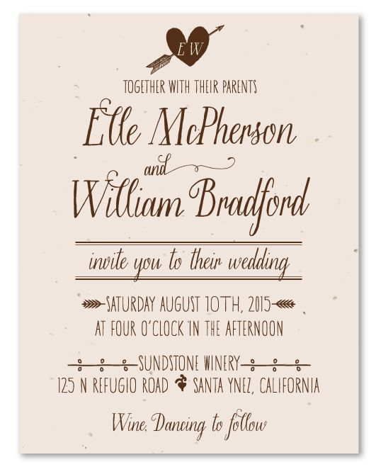 Handwritten Natural Wedding Invitations   Simple Pleasures On Vanilla Latte  Plantable Paper