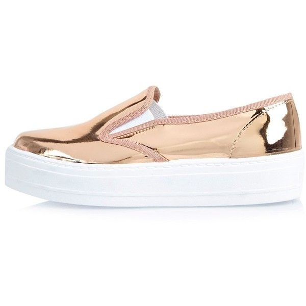 River Island Metallic rose gold flatform plimsolls (78 NZD) ❤ liked on Polyvore featuring shoes, sneakers, sapatos, обувь, gold, plimsolls / sneakers, shoes / boots, women, white slip on shoes and white canvas sneakers