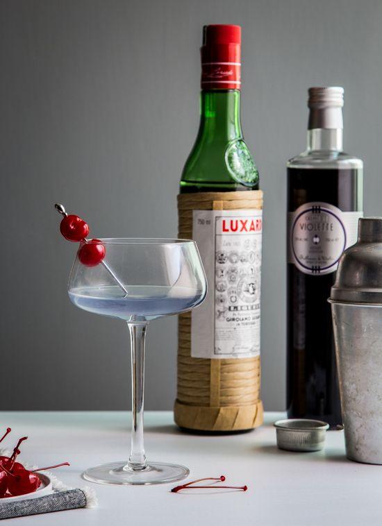 1 1/2 ounces gin (I used g'vine floraison gin) 3/4 ounce maraschino liqueur 1/2 ounce fresh lemon juice (or Limoncello) 1/4 ounce creme de violette