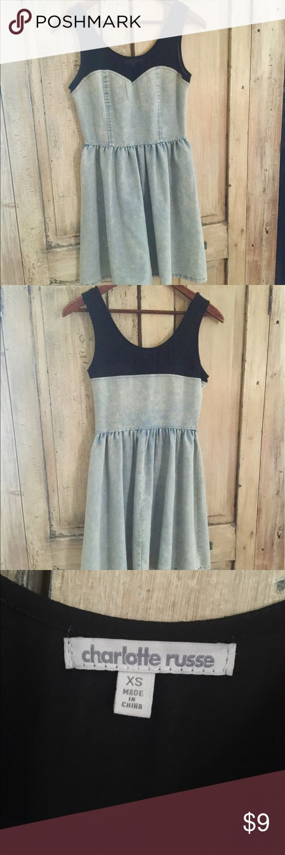 Charlotte Ruse ... Summer dress Charlotte Ruse...side zipper..denim look bottom with sheer black on top ... Small ... Excellent condition...smoke FREE home... Please ask questions I want you to be happy with your purchase ... Thank you for looking Charlotte Russe Dresses Midi